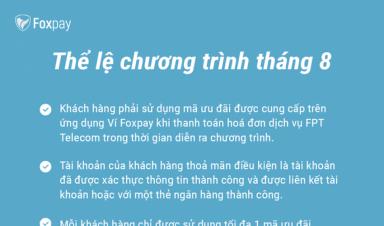 Ưu đãi tháng 8: Giảm 20.000 đồng khi thanh toán hoá đơn dịch vụ FPT Telecom trên Ví Foxpay
